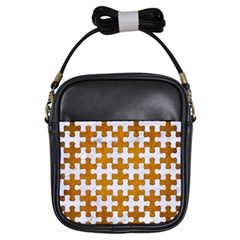 Puzzle1 White Marble & Yellow Grunge Girls Sling Bags by trendistuff
