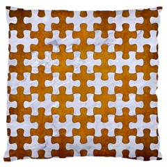 Puzzle1 White Marble & Yellow Grunge Large Cushion Case (two Sides) by trendistuff