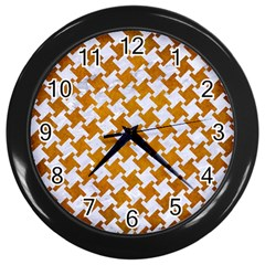 Houndstooth2 White Marble & Yellow Grunge Wall Clocks (black) by trendistuff