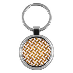 Houndstooth2 White Marble & Yellow Grunge Key Chains (round)