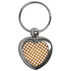 Houndstooth2 White Marble & Yellow Grunge Key Chains (heart)  by trendistuff