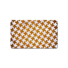 Houndstooth2 White Marble & Yellow Grunge Magnet (name Card) by trendistuff