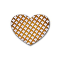 Houndstooth2 White Marble & Yellow Grunge Rubber Coaster (heart)  by trendistuff