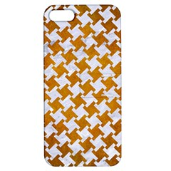 Houndstooth2 White Marble & Yellow Grunge Apple Iphone 5 Hardshell Case With Stand by trendistuff
