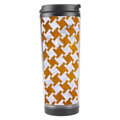 Houndstooth2 White Marble & Yellow Grunge Travel Tumbler by trendistuff