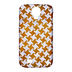 Houndstooth2 White Marble & Yellow Grunge Samsung Galaxy S4 Classic Hardshell Case (pc+silicone) by trendistuff