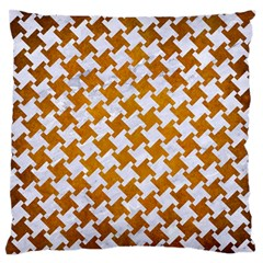 Houndstooth2 White Marble & Yellow Grunge Large Flano Cushion Case (one Side) by trendistuff