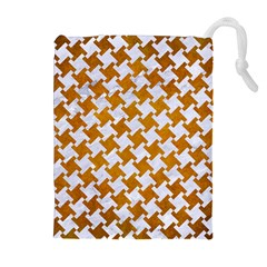 Houndstooth2 White Marble & Yellow Grunge Drawstring Pouches (extra Large) by trendistuff