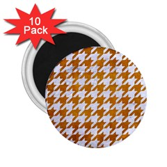 Houndstooth1 White Marble & Yellow Grunge 2 25  Magnets (10 Pack)  by trendistuff