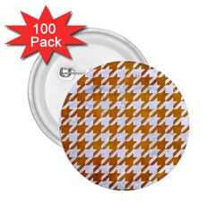 Houndstooth1 White Marble & Yellow Grunge 2 25  Buttons (100 Pack)  by trendistuff