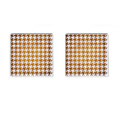 Houndstooth1 White Marble & Yellow Grunge Cufflinks (square) by trendistuff