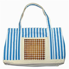 Houndstooth1 White Marble & Yellow Grunge Striped Blue Tote Bag by trendistuff