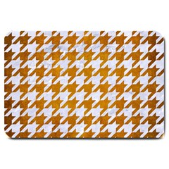 Houndstooth1 White Marble & Yellow Grunge Large Doormat  by trendistuff