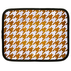 Houndstooth1 White Marble & Yellow Grunge Netbook Case (large) by trendistuff