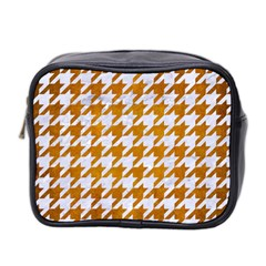 Houndstooth1 White Marble & Yellow Grunge Mini Toiletries Bag 2 Side by trendistuff