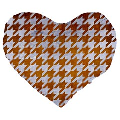 Houndstooth1 White Marble & Yellow Grunge Large 19  Premium Heart Shape Cushions by trendistuff