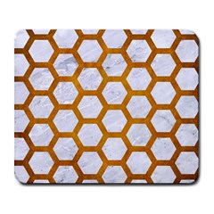 Hexagon2 White Marble & Yellow Grunge (r) Large Mousepads by trendistuff