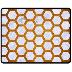 Hexagon2 White Marble & Yellow Grunge (r) Double Sided Fleece Blanket (medium)  by trendistuff