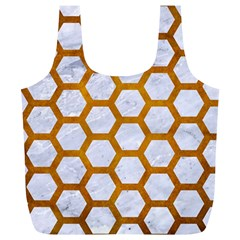 Hexagon2 White Marble & Yellow Grunge (r) Full Print Recycle Bags (l)  by trendistuff
