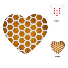 Hexagon2 White Marble & Yellow Grunge Playing Cards (heart)  by trendistuff