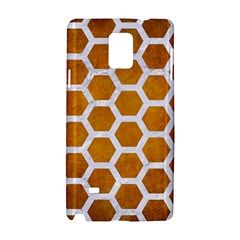 Hexagon2 White Marble & Yellow Grunge Samsung Galaxy Note 4 Hardshell Case by trendistuff