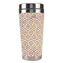 Hexagon1 White Marble & Yellow Grunge (r) Stainless Steel Travel Tumblers by trendistuff