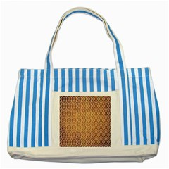 Hexagon1 White Marble & Yellow Grunge Striped Blue Tote Bag by trendistuff
