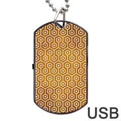 Hexagon1 White Marble & Yellow Grunge Dog Tag Usb Flash (one Side) by trendistuff