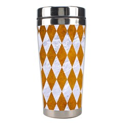 Diamond1 White Marble & Yellow Grunge Stainless Steel Travel Tumblers by trendistuff
