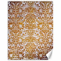 Damask2 White Marble & Yellow Grunge (r) Canvas 12  X 16   by trendistuff
