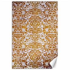 Damask2 White Marble & Yellow Grunge (r) Canvas 20  X 30   by trendistuff