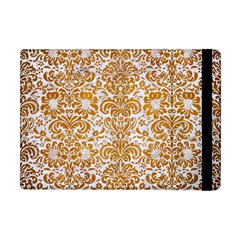 Damask2 White Marble & Yellow Grunge (r) Apple Ipad Mini Flip Case by trendistuff