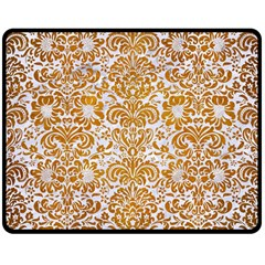 Damask2 White Marble & Yellow Grunge (r) Double Sided Fleece Blanket (medium)  by trendistuff