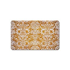 Damask2 White Marble & Yellow Grunge Magnet (name Card) by trendistuff