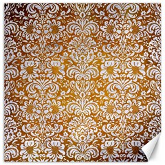Damask2 White Marble & Yellow Grunge Canvas 16  X 16