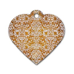 Damask2 White Marble & Yellow Grunge Dog Tag Heart (one Side) by trendistuff
