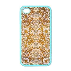 Damask2 White Marble & Yellow Grunge Apple Iphone 4 Case (color) by trendistuff