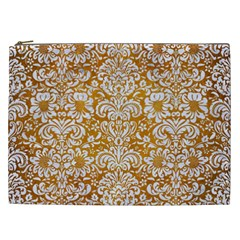 Damask2 White Marble & Yellow Grunge Cosmetic Bag (xxl)  by trendistuff