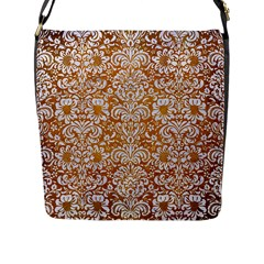 Damask2 White Marble & Yellow Grunge Flap Messenger Bag (l)  by trendistuff