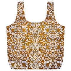 Damask2 White Marble & Yellow Grunge Full Print Recycle Bags (l)  by trendistuff