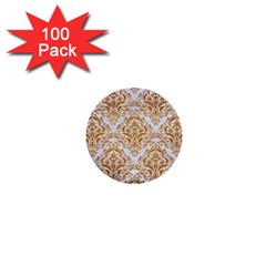 Damask1 White Marble & Yellow Grunge (r) 1  Mini Buttons (100 Pack)  by trendistuff