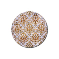 Damask1 White Marble & Yellow Grunge (r) Rubber Coaster (round)  by trendistuff