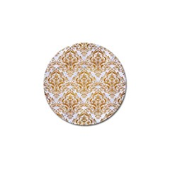 Damask1 White Marble & Yellow Grunge (r) Golf Ball Marker by trendistuff