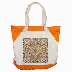 Damask1 White Marble & Yellow Grunge (r) Accent Tote Bag by trendistuff