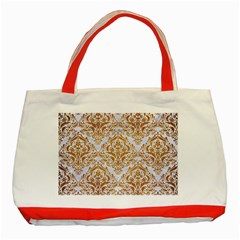 Damask1 White Marble & Yellow Grunge (r) Classic Tote Bag (red) by trendistuff