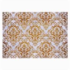 Damask1 White Marble & Yellow Grunge (r) Large Glasses Cloth by trendistuff