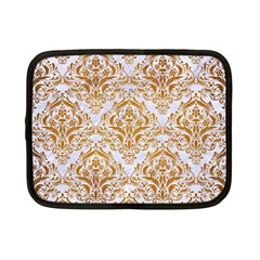 Damask1 White Marble & Yellow Grunge (r) Netbook Case (small)  by trendistuff