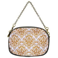 Damask1 White Marble & Yellow Grunge (r) Chain Purses (one Side)  by trendistuff