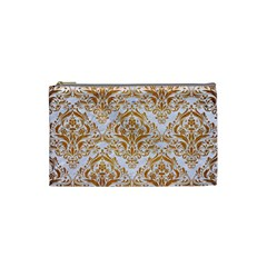 Damask1 White Marble & Yellow Grunge (r) Cosmetic Bag (small)  by trendistuff
