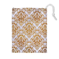 Damask1 White Marble & Yellow Grunge (r) Drawstring Pouches (extra Large) by trendistuff